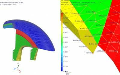 How to validate the distribution of 2D element thickness in NX