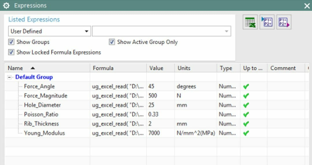 How to drive NX expressions from a spreadsheet