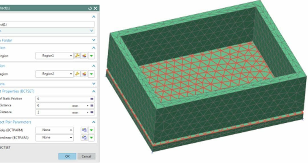 How to preview NX NASTRAN contact and glue regions
